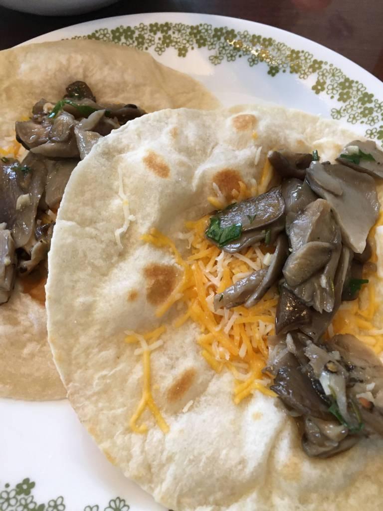 Mushrooms layed out on crispy fresh flour tortilla.