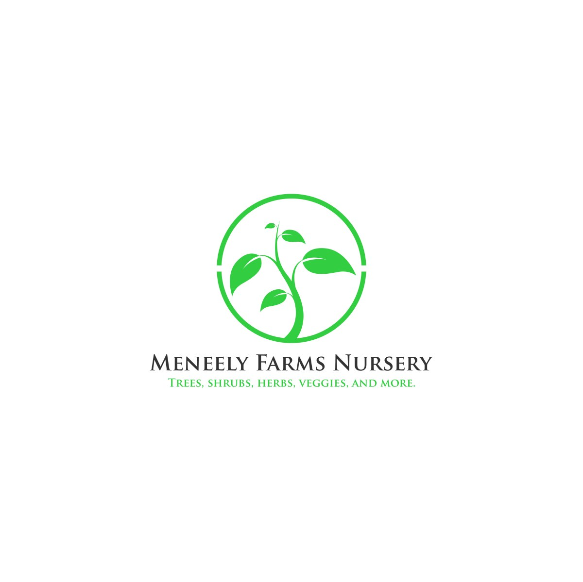 Meneely Farms Logo with green leaf design